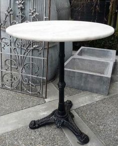 french antique bistro table w marble top