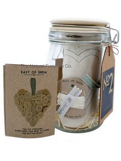 East Of India Hanging Button Heart Sew Kit In Glass Jar Button Button, Sewing Kit, Glass Jars, Fun Things, Scrapbooking, Packaging, Buttons, India, Heart