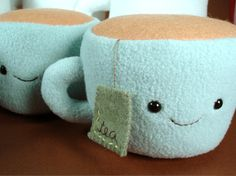 Tea anyone?  Cute teacup plush toy for kids, or tea-obsessed adults - could of course be easily be turned into coffee!