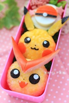 Pikachu(Pokemon)Lunch Box--this link makes it easy to understand how to cook pikachu.