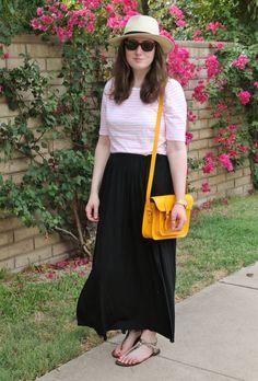 Stripes, Black maxi skirt, yellow bag, panama hat
