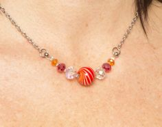 Lampwork Bead Necklace Red Glass Bead Necklace Murnao by Azurika, $45.00