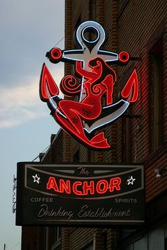 Anchor & mermaid neon