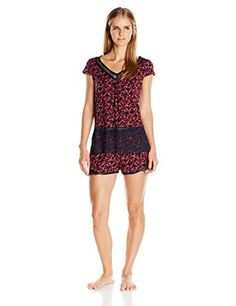 Midnight by Carole Hochman Women's Short Modal Pajama with Lace, Floral Burst, Medium