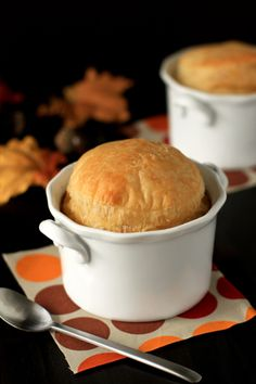 Leftover turkey from your latest holiday spread? Instead of noshing on a mundane turkey sandwich, whip up these simple, individual turkey pot pies. Loaded with turkey, veggies and a creamy sour bream sauce, this pot pie is sure to please. Thanksgiving Recipes, Fall Recipes, Holiday Recipes, Great Recipes, Favorite Recipes, Thanksgiving Leftovers, Turkey Leftovers, Turkey Dishes, Turkey Recipes