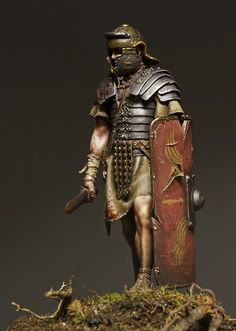 Roman Legionary toy solider with a sword and shield.