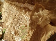 """50"""" Wide --GORGEOUS! Custom ANTIQUE Lace Valance with bow Burlap Curtain SHABBY Rustic Chic Cream"""