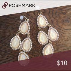 Earrings Off white stone and rhinestone chandelier earrings from anthropology. Anthropologie Jewelry Earrings