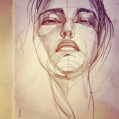 Sketch for portrait from EMOTIONS serie... Yellow///Giallo...  Irina Sokolova Guida ©2012
