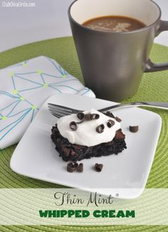 Recipe Ideas using New Coffee-mate #GirlScoutCookie flavors: Thin Mint Whipped Cream....mix together 1/2 cup of Thin Mint Coffee-mate creamer with 1 cup of heavy whipping cream and mixed it up until stiff.