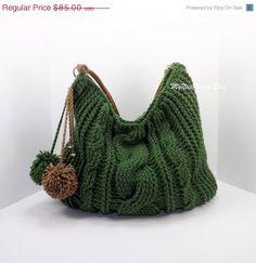 SALE Crochet over sized green hobo bag crochet por MyNicePurses