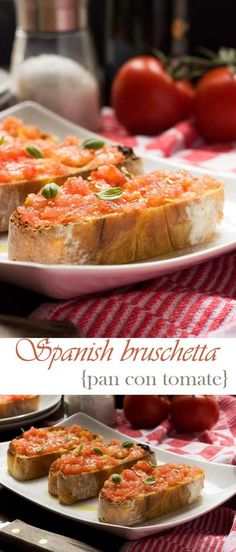 Pan con tomate (Spanish bruschetta) - - Who doesn't like a really well done bruschetta? This Spanish version, otherwise known as pan con tomate, takes just 10 minutes from start to finish to make, but tastes divine! Spanish Appetizers, Yummy Appetizers, Spanish Dinner, Tapas Dishes, Tapas Party, Spanish Cuisine, Appetisers, Clean Eating Snacks, Snacks