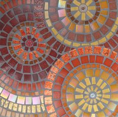 'Red Circles' (2014) Glass tiles and buttons. Rachel Evans Mosaics www.rachelevansmosaics.com Text and images ©2010-2015 Rachel Evans Mosaics, All Rights Reserved No content from this site may be reproduced without express permission from Rachel Evans Mosaics
