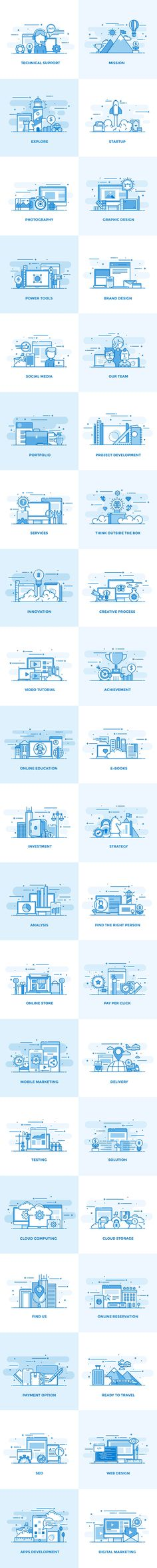 Flat Line Color Conceptual Icons by Creative Graphics on @creativemarket