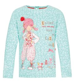 Buy the Pure Cotton Emily Button™ Snowflake T-Shirt with StayNEW™ Years) from Marks and Spencer's range. Nike Store, Snowflakes, Christmas Sweaters, Buttons, Cute, T Shirt, Characters, Girls, Party