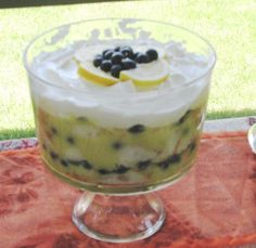Blueberry Lemon Trifle from Food.com: I love blueberry and lemon together! This is so simple and very pretty. It's a little different than the other recipes posted as it uses lemon pie filling instead of pudding. From Taste of Home. Prep time includes refrigeration.