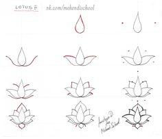 How to draw classic indian mehndi lotus. Easy tutorial. DIY.