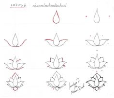 How to draw classic indian mehndi lotus. Easy tutorial. DIY.
