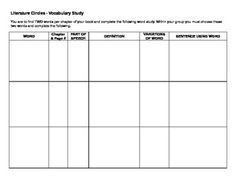 Literature Circles - Vocabulary Study - This table can be used for independent or collaborative vocabulary study for students involved in literature circles. Middle School Reading, 4th Grade Reading, Teaching Reading, Guided Reading, Learning, Ready Readers, Literacy Circles, Literature Circles, Writing Strategies