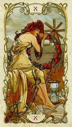 <({ Wheel of Fortune })> - Tarot Card by Mucha ~ 10