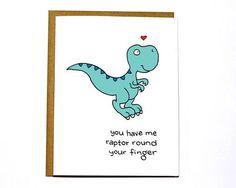 Raptor dinosaur funny Valentines Day card I by DarkroomandDearly