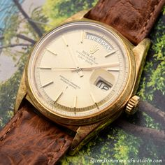 A 1970's era Rolex Day-Date President Ref. 1803 in 18K Yellow Gold with a beautiful, florentine-textured case. This example also features a patinated, champagne dial with applied, yellow gold bar markers, and a 26-jewel, automatic caliber 1556...    #rolex #daydate #president #florentine #finish #rare #vintagewatches #classicwatches #classic #vintage #watch #watches #cool #wristwatch #collectible #timepiece #stawc