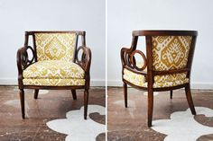 An L.A. couple picked up one of their grandfather's chairs while in Pittsburgh then drove it to Philadelphia where they were visiting friends. Being fans of our work they scheduled a visit with us for its reupholstery and chose Maxwell Fabric's Ethnic is Maize for the redo. What a gorgeous chair!