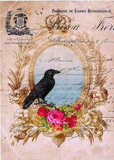 Vintage Collage Background ~ Antique Prints Passion