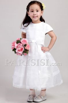 2017 real picture lace ball gown flower girl dress white dress for wedding party short sleeve children dress Ankle Length White Dresses For Women, White Wedding Dresses, Cheap Wedding Dress, Wedding Party Dresses, Bridal Dresses, Bridesmaid Dresses, Prom Dresses, Cheap Dress, Lace Wedding