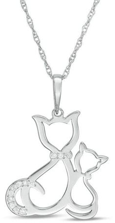 18k White Gold Plated Crystal Black White Double Cat in Heart Pendant Necklace