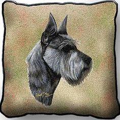 Schnauzer Dog by Robert May Art Tapestry Pillow