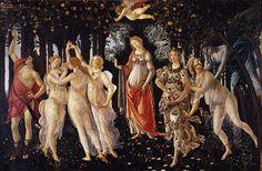 Entre las grandes obras de Boticcelli están sin duda El nacimiento de Venus y La primavera, aquí esta última. La Primavera es una de las obras maestras del pintor renacentista Italiano Sandro Botticelli. Está realizado al temple de huevo sobre tabla. Mide 203 cm de alto y 314 cm de ancho y fue realizada entre 1480 y 1481.