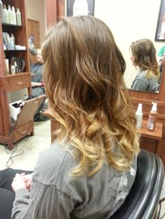 Soft, copper & blonde ombre, Aveda color. Loose curls.