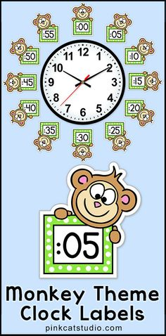 Monkey Theme Clock Labels and Student Worksheets: These fun Monkey theme labels will look fantastic around your classroom clock! The polka dot frames and silly monkey characters are sure to inspire your students to practice telling time. Perfect for a jungle theme classroom! By Pink Cat Studio