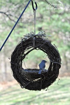 Rebecca's Bird Gardens Blog: DIY Grapevine Bird Feeder #birdhousetips