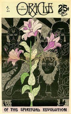 Eduardo Arderi, cover artwork for the San Francisco Oracle, Issue Doodles, Tarot, Rock Posters, Mid Century Art, Psychedelic Art, Aesthetic Art, Cover Art, Art Inspo, Art Nouveau