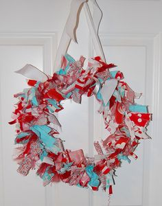 Aqua and Red Polka dots Fabric wreath by redheadmomma, via Flickr