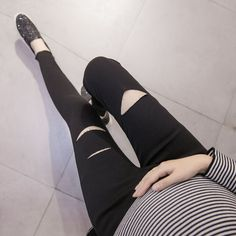 Maternity clothing autumn and winter new pregnant women fashion hole piercing pencil pants Korean fashion pregnant women pants #Affiliate