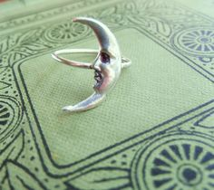 Sterling Silver Crescent Moon Ring Art Nouveau by PhenomenaJewelry