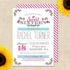 Whimsy Sweet Sixteen Invitation DIY PRINTABLE
