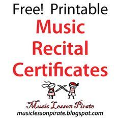 Free Printable Music Recital Certificates | Music Lesson Pirate, music teaching blog