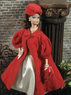 "Click photo to enlarge Continental Holiday Silkstone Barbie doll is ready for the cocktail hour in Mattel's vintage ""Red Flare"" velveteen c..."