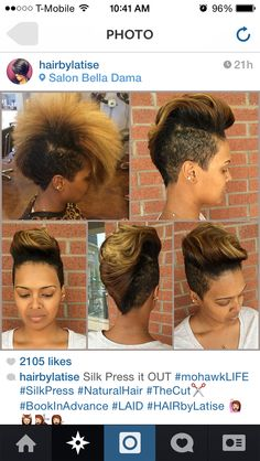 like the haircut, and like the yellow tips. the yellow would only look good if you had a natural-looking hair color to go with it, though. it'd look bad on my black hair, i'd look like … Afro Punk, Love Hair, Gorgeous Hair, Short Hair Cuts, Short Hair Styles, Sassy Hair, My Hairstyle, Curly Mohawk Hairstyles, Hair Affair