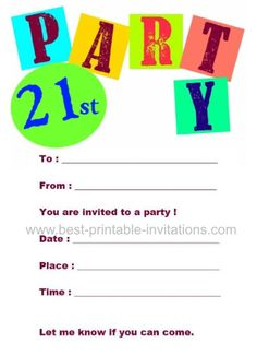 21st Birthday Invitations - Free printable invites from www.best-printable-invitations.com