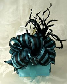 Teal Blue Gift Box with black ribbon embellishment. the colors are striking. #giftwrap