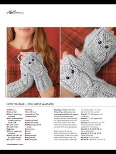 Have made several pairs already by modifying 3 patterns together, lol. Nice to have one proper pattern.Owl Wrist Warmers Mollie Makes Tanya AntonovaMollie makes 21 - Les tricots de Loulou - Picasa Albums WebBilderesultat for owl fingerless gloves kni Owl Knitting Pattern, Mittens Pattern, Knitting Patterns Free, Free Pattern, Crochet Mittens, Crochet Gloves, Knit Crochet, Crochet Wrist Warmers, Diy Crafts Knitting