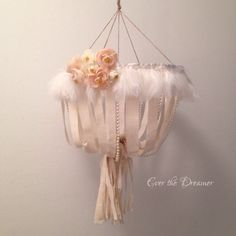 Bohemian Rose calico chandelier mobile shabby chic boho girls nursery bedroom decor peach blooms pearls calico baby girl mobile by EverTheDream on Etsy