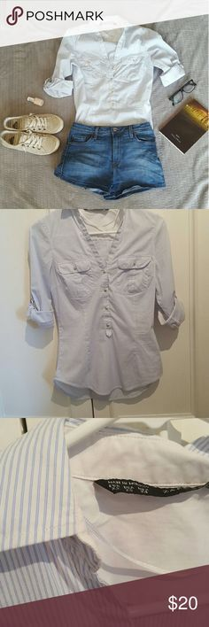 NWOT Zara Basic Pinstriped Blouse This cute blue and white pinstriped blouse can be worn casually or dressed up with slacks for the office.  Sleeves can be rolled down.  Gold buttons. Form-fitting. Zara Tops Button Down Shirts