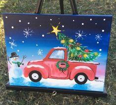 Christmas Tree Ideas - How To Paint A Christmas Tree Truck - Step By Step Painting Christmas Tree Canvas, Christmas Paintings On Canvas, Christmas Tree Painting, Christmas Drawing, Christmas Art, White Christmas, Xmas, Tree Paintings, Cheap Paintings