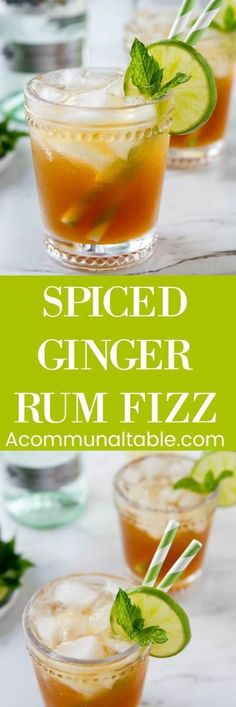 Inspired by rum punch, this spiced ginger rum fizz cocktail recipe is sweet, tart and refreshing! The key is a spiced simple syrup made from pantry staples. #ginger #cocktails #drinks #cocktailrecipe #cocktailrecipes